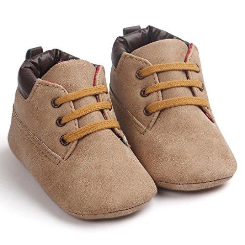Chaussures de bébé,Transer ®Chaussures bébé nourrisson garçon fille Toddler unique en cuir souple anti-dérapant Kaki1