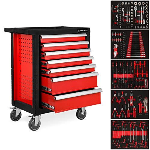 EBERTH Werkstattwagen inkl. Werkzeug (7 kugelgelagerte Schubfächer, 5 Schubladen mit Werkzeug...