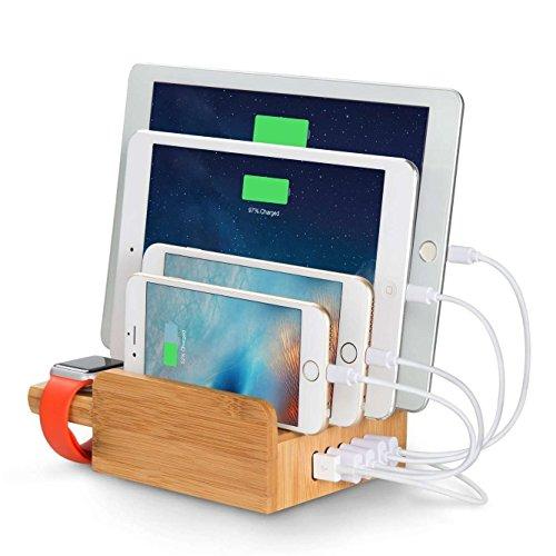 Upow Stazione di Ricarica con 5 Porte usb e Appoggio per Apple Watch in Materiale di Bambù Naturale, Bella, Elegante e Ecologica