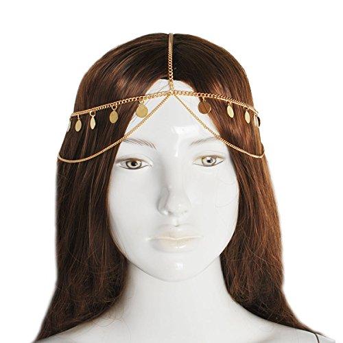 Jane Stone Damen Haarschmuck goldene Charms Braut indisches goldenes Haarband aus Resin und Metalllegierung