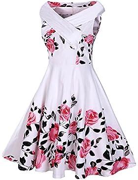 DressLily Vestito da Cocktail di tè dell'annata 50s dalla Retro Rosa Donna Vestito