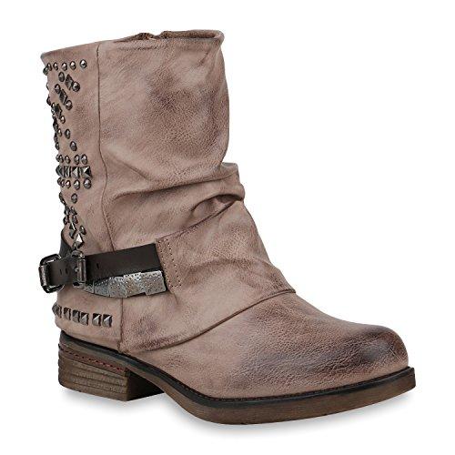 Damen Schuhe Stiefeletten Biker Boots Warm Gefütterte Stiefel 152987 Khaki Nieten Carlet 42 Flandell