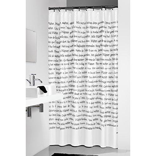 Sealskin - Tenda per la doccia con frasi stampate, 180 x 200 cm