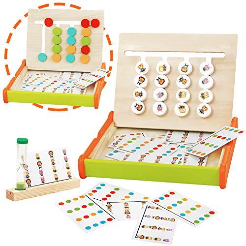 jerryvon Holzspielzeug Puzzle Montessori Spielzeug Holz Sortierspiel Kinder Farbe Tier Set Holzpuzzle mit 16 Holzblock Sortieren Lernspielzeug Pädagogisches Logik Puzzles Spiel für Jungen Mädchen