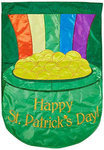 CHKWYN Home Accents Double Applique Flag, Pot of Gold, Large for Party Outdoor Home Decor Size: 28-inches W X 40-inches H Side Drape Applique