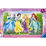 Ravensburger - 06047 - Puzzle Enfant avec cadre - Princesses Disney - La Promenade des Princesses - 15 Pièces