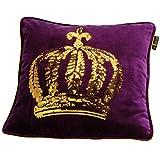 GLÖÖCKLER by KBT Bettwaren 4001626021666 Zierkissen Gefüllt mit goldener Pailletten Krone, 50 x 50 cm, lila