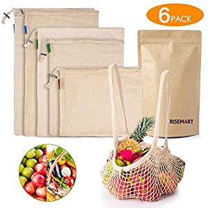 RISEMART Wiederverwendbare Obst und Gemüsebeutel,100% Bio Baumwolle,6er Set 4 Verschiedene Größen Umweltfreundlich Maschinenwaschbar Einkaufstaschen mit Gewichtsangabe