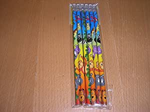 12 Jungle Wild Animal Theme Pencils with Erasers - Children's Party Loot Bag Toys