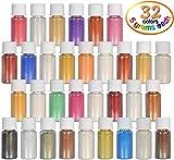 DEWEL Naturale Pigmenti Coloranti, Mica Powder Colori Mica Polvere Colorante Polveri Perlato per DIY,Sapone, Slime,Candele, Acquerello, Cosmetici (32 Colori *5g)