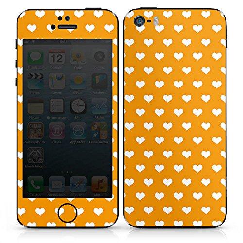 Apple iPhone 5s Case Skin Sticker aus Vinyl-Folie Aufkleber Herzchen Muster Orange DesignSkins® glänzend