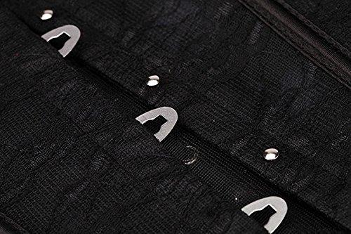 HLGO Schwarz Satin Vollbrust Korsett Corsage Vintage Taillen Korsagen Blütenstickerei Unterbrustkorsett mit Brokatmuster Schwarz2