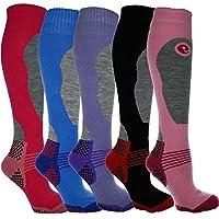 Calcetines largos de mujer de alto rendimiento para esquí y snowboard, térmicos, acolchado especial para mejor protección (talla 37-41, 5 pares)