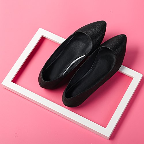 Femme Ballerines Plates Pointue Depolie Couleur Brillante Mode Simple Poiture 34 - 45 Noir