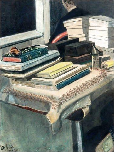 Acrylglasbild 30 x 40 cm: Autoportrait aux livres von Léon Spilliaert