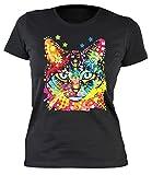Damen T-Shirt, Girlieshirt mit farbigen Katzenkopf - Blue Eyes