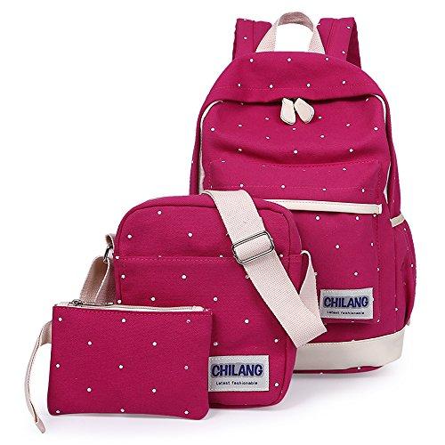Minetom 3 Pezzi Plus Messenger Bag Frizione Tela Borsa A Zainetto Donna Spalla Zaini Femminili Scuola Superiore Zainetti Ragazze Rose Rosso One Size(27*44*15 Cm)