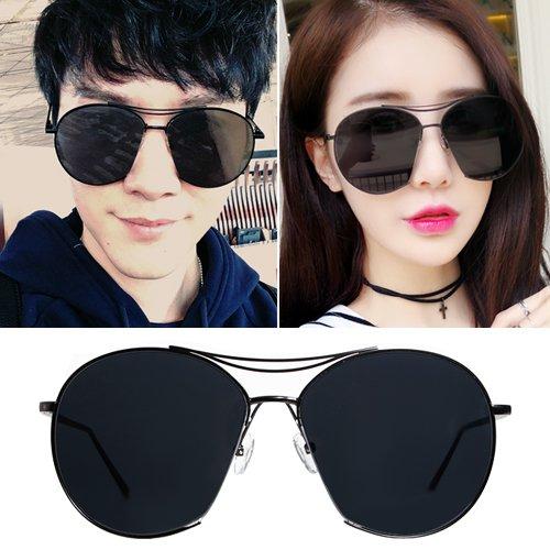 Sunyan Die Koreaner vernetzen sich mit Rot, transparent film Sonnenbrille Frau tide neue Schneide Persönlichkeit männlichen GD Sonnenbrille rundes Gesicht Brille, eine black box ist alles schwarz Film