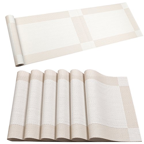 U 'artlines Tisch-Sets mit Kompatibel Tabel Läufer, Quer verwoben, Breite Isolierung Tisch-Sets Waschbar Tisch Matten Set 6pcs placemats+Table Runner cremeweiß Sets De Table