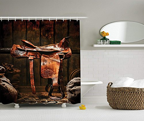 Western Decor Collection, Rodeo Cowboy Leather Western Saddle on Wood Beam  in Rustic Ranch Wood Barn Picture, Polyester Fabric Bathroom Shower Curtain