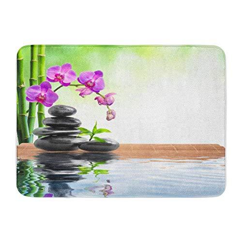LIS HOME Badematte Flanellstoff Weiches, saugfähiges Green Balance Spa Weiß Bambus Orchideen und Wasser Natur Gemütlicher, dekorativer, Rutschfester Badezimmer-Teppich - Natur-badezimmer-teppich