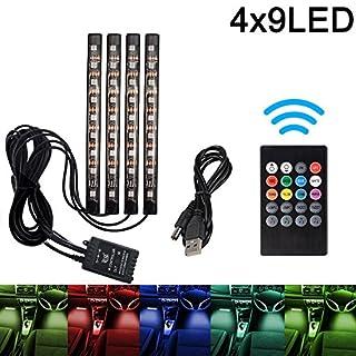 Auto LED-Streifen, Auto Innenraumbeleuchtung Lichtleiste 8 Farben RGB LED Leuchten Neon Dekorationslampe mit Sound Active Funktion und kabelloser Fernbedienung für Innenräume (4-teiliges, mit USB)