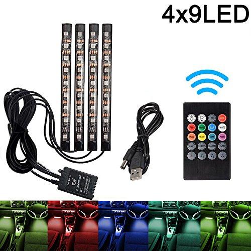 Preisvergleich Produktbild Auto LED-Streifen, Auto Innenraumbeleuchtung Lichtleiste 8 Farben RGB LED Leuchten Neon Dekorationslampe mit Sound Active Funktion und kabelloser Fernbedienung für Innenräume (4-teiliges, mit USB)
