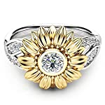 Damen Ring, HUIHUI Silberner Blumenring Runder Diamant Sonnenblumen Ring Engagement Ringe Prinzessin O-Ringe Nagel Finger Band für Damen Mädchen