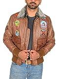 Veste en Cuir pour Homme Pilote Aviateur Top Gun Coiffer MILLÉSIME Badges Bronzer...