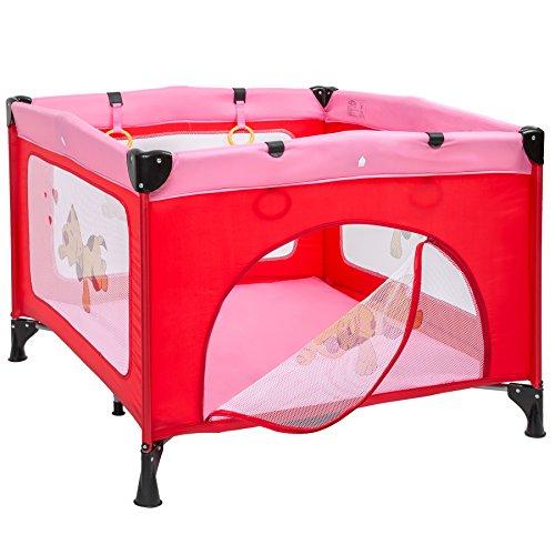 TecTake Kinder Reisebett höhenverstellbar mit Babyeinlage – diverse Farben – (Pink | Nr. 402206)