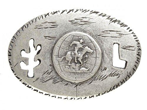 Gürtelschnalle mit Relief - Worldwide Cowboy - Wechselschliesse in edlem Design als besonderes Geschenk