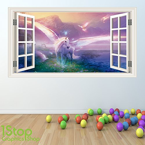 UNICORN WALL STICKER FULL COLOUR   GIRLS BOYS FAIRYTALE BEDROOM W44 Size   Large. Unicorn Bedroom  Amazon co uk