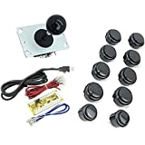 WINIT Zero Delay PC Joystick Cabinet DIY Parts Kit for Mame Jamma & Fighting Games 10PCS Black buttons+1pcs Zero Delay + 1PCS Black Ball 8 Way JoystickUSB Encoder Support All Windows Systems by Winit