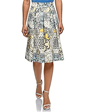 oodji Collection Mujer Falda Midi con Pliegues