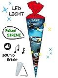 alles-meine.de GmbH Sound Modul & LED Licht Effekt ! - Schultüte -  Polizei & Helikopter  - 70 cm - rund - incl. Name - Filz Abschluß - Zuckertüte - mit / ohne Kunststoff Spitz..