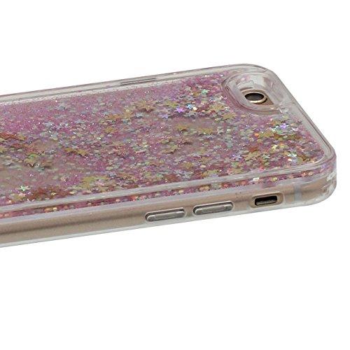 Coque Dur Flowable Transparent Liquide Eau / Coloré Coeurs / Étoiles / Sable Conception Série Clair Transparent PC Dur Housse de protection Case pour Apple iPhone 7 4.7 inch rose-1