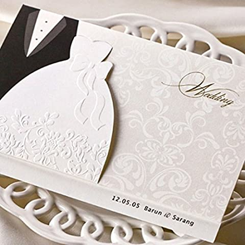VStoy Wedding Invitations Black and White Evening Dress Style Engagement Invitation Cards Kits Stock with Envelope and Seals Wedding Favors Bride Shower Cardstock 20 Pieces