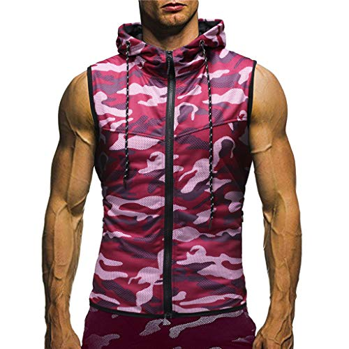 UINGKID Herren T-Shirt, Kurzarm Top Shirt Schlafanzugoberteil Sommer Casual Camouflage Print mit Kapuze ärmelloses Weste Bluse (Turtle Kürbis Ninja)