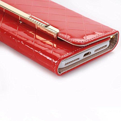 iPhone Case Cover IPhone 7 Plus Fall-Abdeckung, helles Oberflächengitter-Muster-Einfarbige lederne Fall-Ketten-Schultasche-Beutel für Apple IPhone 7 Plus ( Color : Gold , Size : IPhone 7 Plus ) Red