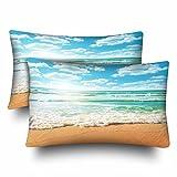 Best Blue Wave Soft Pillows - InterestPrint Ocean Wave Beach Navy Blue Sunset Seascape Review