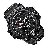 Rosepoem Relojes deportivos Relojes de los deportes al aire libre reloj multifuncional Reloj de cuarzo alarma de reloj cronómetro Negro