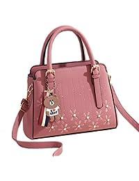 28e382f2954b JUND Damen PU Leder Handtaschen Elegant Blumenmuster Umhängetasche Mode  Einfarbig Frau Satchel Ledertasche