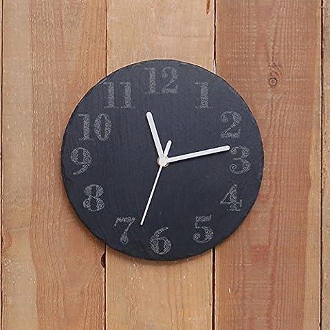 Redondo Reloj De Pizarra Diseño espiral números - grabado láser - regalo ideal