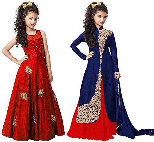 Market Magic World Girl's Red & Blue Banglori Semi Stitched Combo Pack...