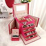 MRDEER Schmuckkästchen Große Schmuckkasten 5 Schichten Schmuckschatulle mit 5 Schubladen,mit Spiegel,Schublade und Mini-Box, Ideales Geschenk für Mädchen,Red
