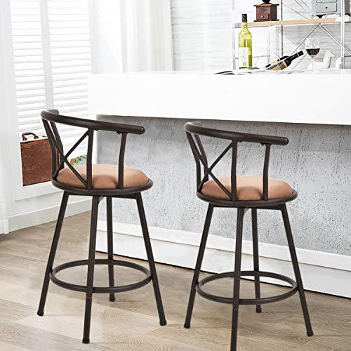 Tabouret de Bar Ensemble de 2 tabourets de Bar industriels de Style Chaise Vintage avec Repose-Pieds Design rembourré de Mousse de 24 Pouces pour Le Salon ou la Cuisine