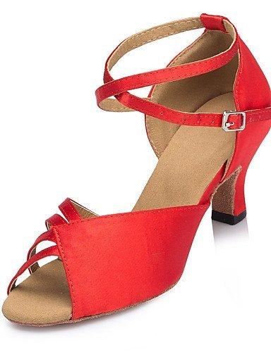 Brown Personalizado Vermelho cetim azul latine Shangyi Customizáveis Samba Jazz Salsa Dança Calcanhar Vermelho Sapatos TqAtFw8n