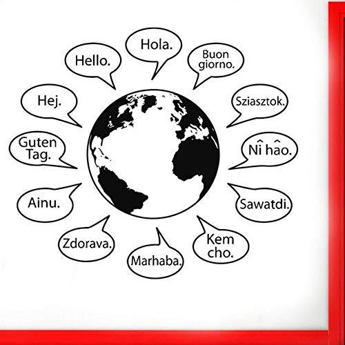 ONETOTOP Text Wandaufkleber in vielen Sprachen Weltkarte Wörter Wohnkultur für Wohnzimmer Coffee Shop Vinyl Logo Sign42 * 48cm (Sprachen Weltkarte)