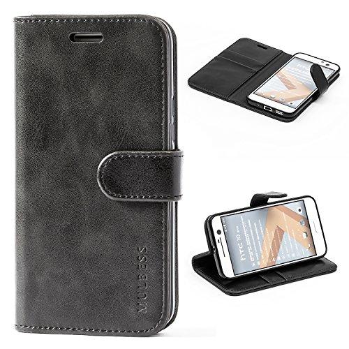 Mulbess Handyhülle für HTC 10 Hülle, Leder Flip Case Schutzhülle für HTC 10 Tasche, Schwarz