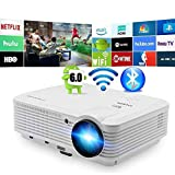 LED Proiettore Bluetooth Wireless 4500 Lumen Android Bluetooth Proiettore Smart Wifi HD WXGA Proiettori Home Theater Airplay Miracast LCD 1080P Proiettore Android Bluetooth HDMI USB VGA Audio AV